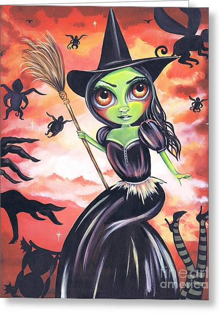 Kids Books Paintings Greeting Cards - Wicked Witch of the West Greeting Card by Jaz Higgins