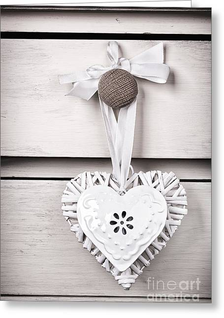 White Willow Greeting Cards - Wicker and tin heart Greeting Card by Jane Rix