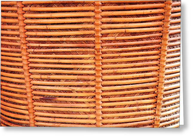 Bamboo Fence Greeting Cards - Wicker Greeting Card by Antoni Halim