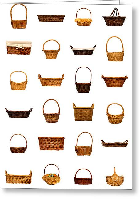 Baskets Photographs Greeting Cards - Wicker Basket Collection Greeting Card by Olivier Le Queinec