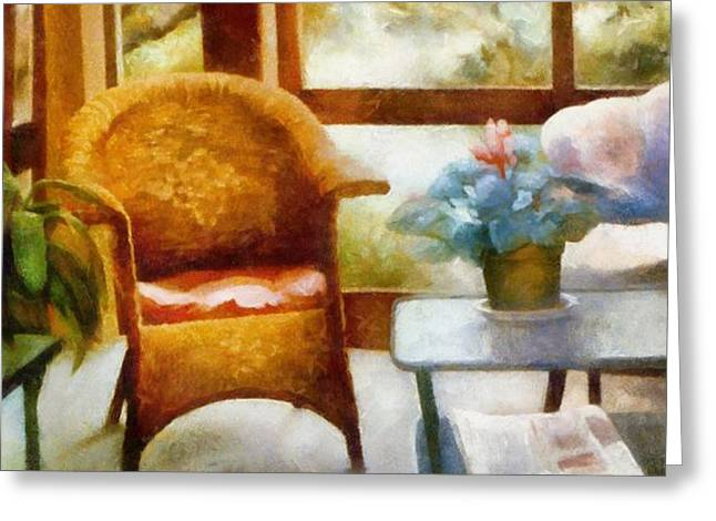 Wicker Chair and Cyclamen Greeting Card by Michelle Calkins