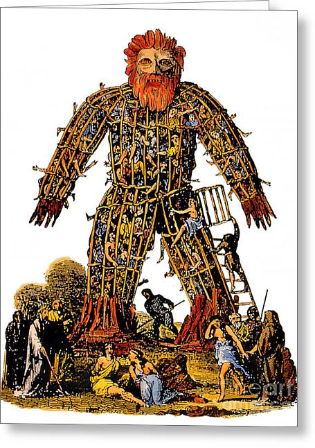 Human Sacrifice Artwork Greeting Cards - Wicker Man Druid Ceremony Greeting Card by Photo Researchers