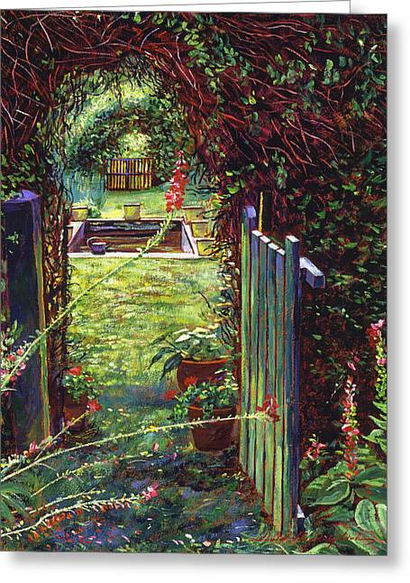 Flowerpots Greeting Cards - Wicket Garden Gate Greeting Card by David Lloyd Glover