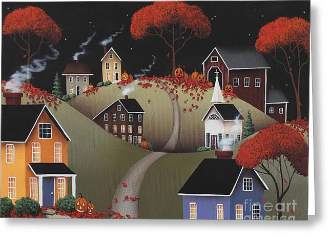 American Primitive Art Greeting Cards - Wickford Village Halloween ll Greeting Card by Catherine Holman