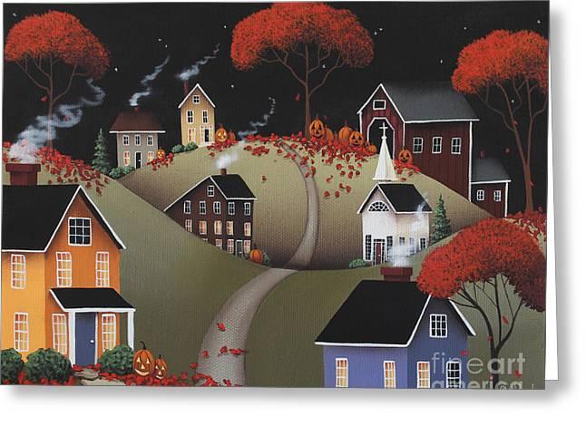 Halloween Folk Art Greeting Cards - Wickford Village Halloween ll Greeting Card by Catherine Holman