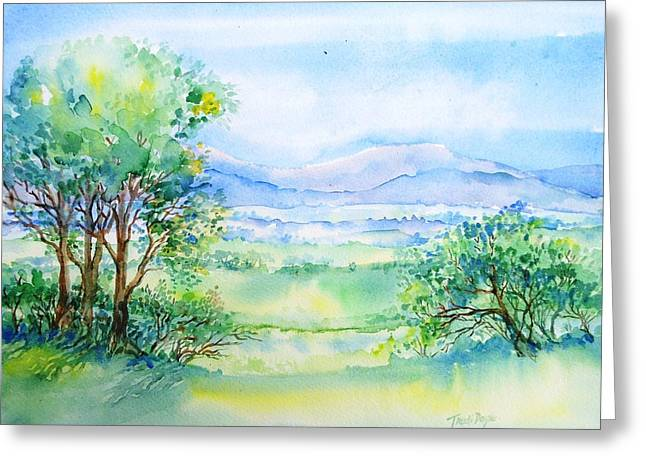 Blue And Green Greeting Cards - Wicklow Landscape in Summer Greeting Card by Trudi Doyle