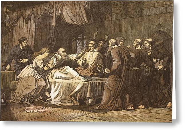 Bed Drawings Greeting Cards - Wicliffe On His Death Bed Assailed Greeting Card by English School