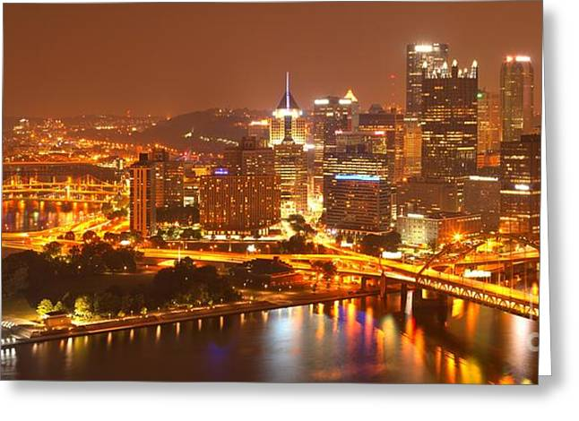 Incline Greeting Cards - Wide Angle Pittsburgh Cityscape Greeting Card by Adam Jewell