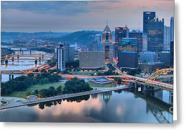 City Of Champions Greeting Cards - Wide Angle Pittsburgh Sunrise Greeting Card by Adam Jewell
