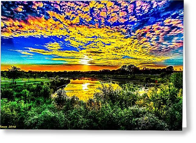 Colorful Cloud Formations Greeting Cards - Wide Angle Sunset Greeting Card by Ron Fleishman
