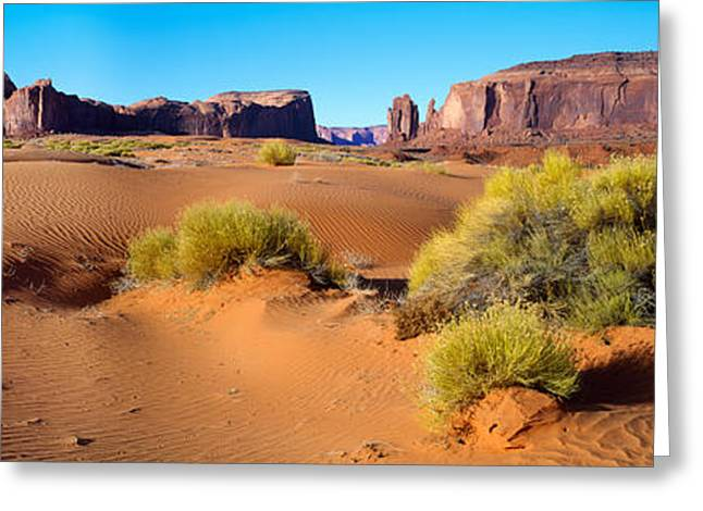 Colorado Plateau Greeting Cards - Wide Angle View Of Monument Valley Greeting Card by Panoramic Images