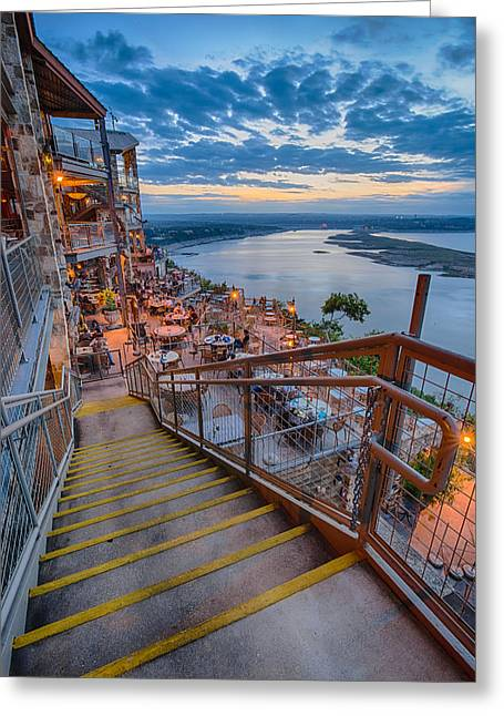 Comanche Greeting Cards - Wide Angle View of The Oasis and Lake Travis - Austin Texas Greeting Card by Silvio Ligutti