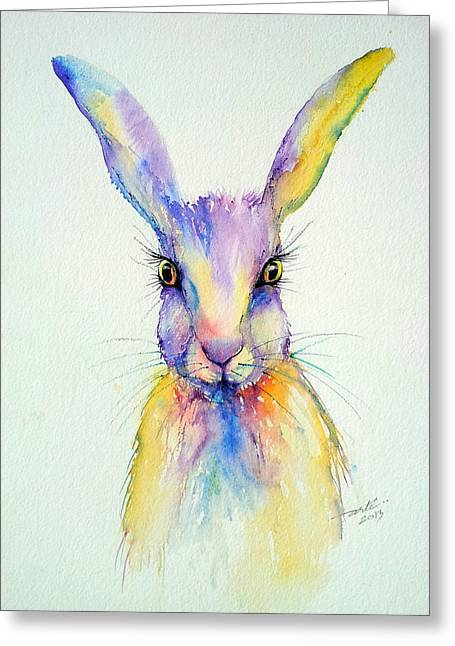 Hare Greeting Cards - Wide Eyed Greeting Card by Arti Chauhan