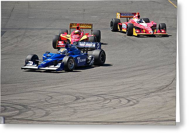 Indy Car Greeting Cards - Wide in Turn 9 Greeting Card by Dave Koontz