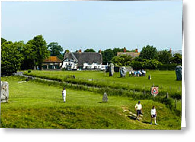 Virtuous Greeting Cards - Wide panorama of stone circle Avebury Circle  Wiltshire UK  Greeting Card by Peter Noyce