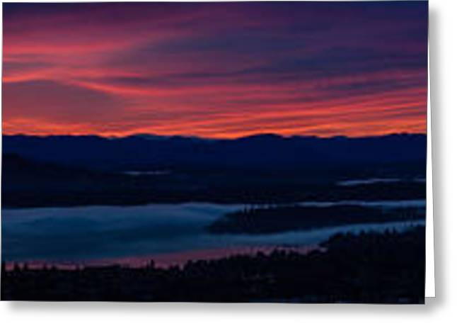 Wide Seattle Eastside Sunrise Pano Greeting Card by Mike Reid