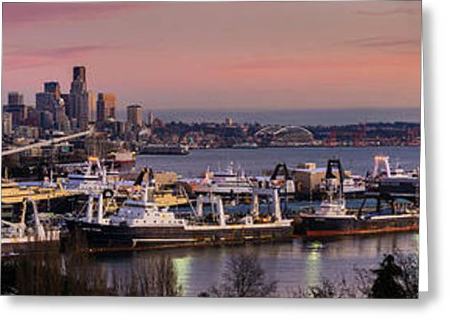 Elliott Greeting Cards - Wider Seattle Skyline and Rainier at Sunset from Magnolia Greeting Card by Mike Reid