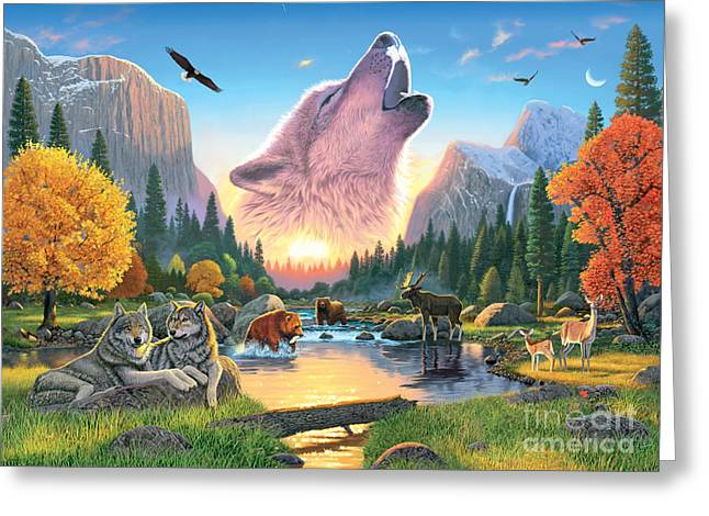 Howl Greeting Cards - Widerness Harmony Greeting Card by Chris Heitt
