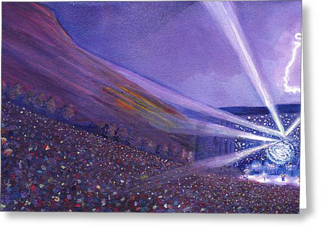 Bell Greeting Cards - Widespread Panic Redrocks Lighting Greeting Card by David Sockrider