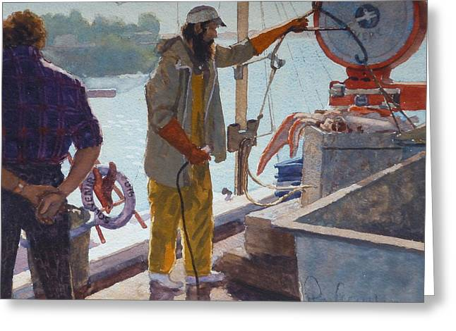 Terry Perham Greeting Cards - Wieghing The Catch Graymouth Greeting Card by Terry Perham