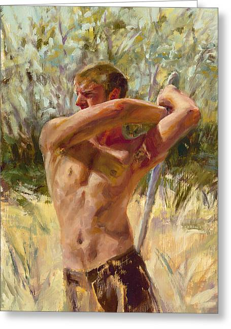 Manhood Greeting Cards - Wielding His Sword Greeting Card by Cheryl King