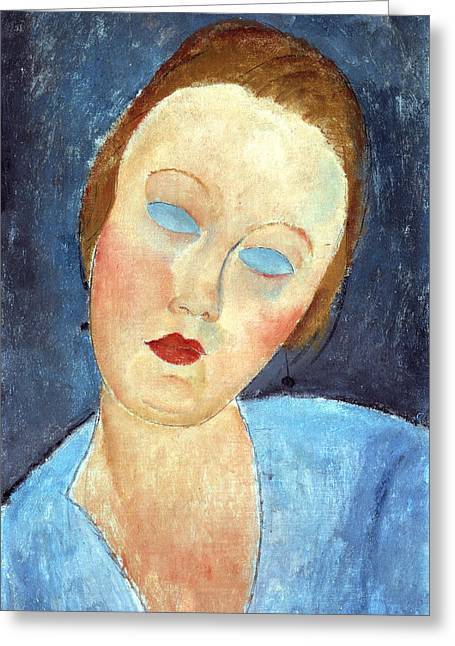 Featured Portraits Greeting Cards - Wife of the Painter Survage Greeting Card by Amedeo Modigliani