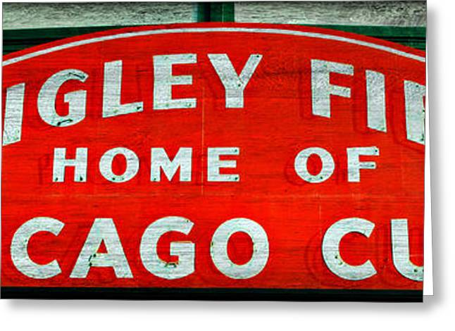 Ron Woods Greeting Cards - Wrigley Field Sign -- No.3 Greeting Card by Stephen Stookey