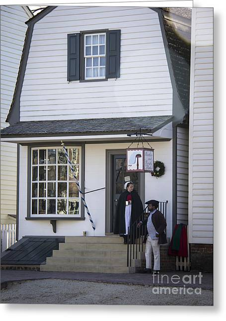 Colonial Actors Greeting Cards - Wigmaker and Barber Shop Williamsburg Virginia Greeting Card by Teresa Mucha