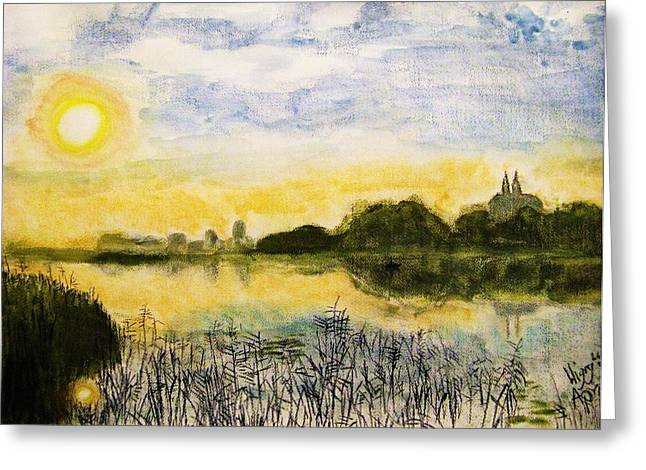 Skylines Pastels Greeting Cards - Wigry Lake at Dawn Greeting Card by Agata Suchocka-Wachowska