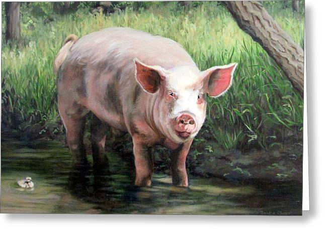 Sandra Chase Paintings Greeting Cards - Wilbur in His Woods Greeting Card by Sandra Chase