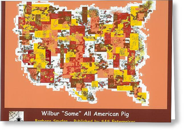 Wilbur Some All American Pig Greeting Card by Barbara Snyder