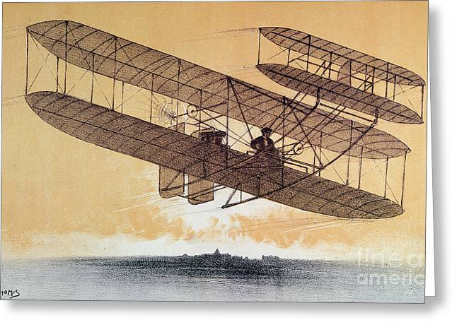 Flying Drawings Greeting Cards - Wilbur Wright in his Flyer Greeting Card by Leon Pousthomis