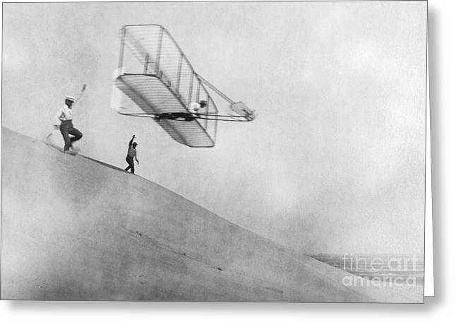 Flyer Greeting Cards - Wilbur Wright Pilots Early Glider 1901 Greeting Card by Science Source