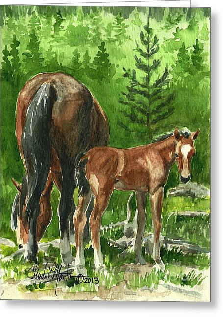 Llmartin Greeting Cards - Wild Alberta mare and Foal Greeting Card by Linda L Martin