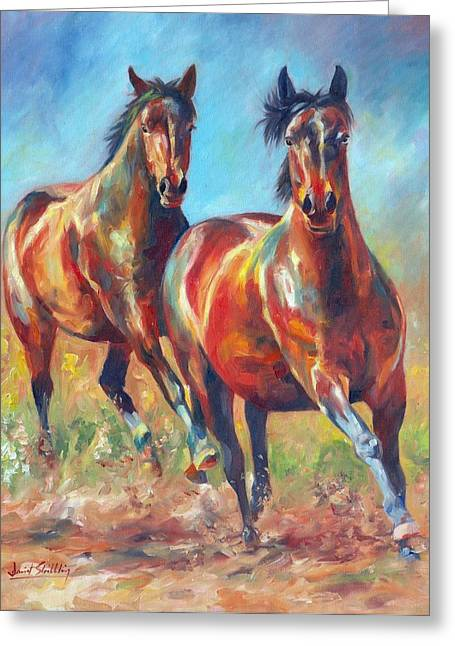 Horses Running Greeting Cards - Wild and Free Greeting Card by David Stribbling