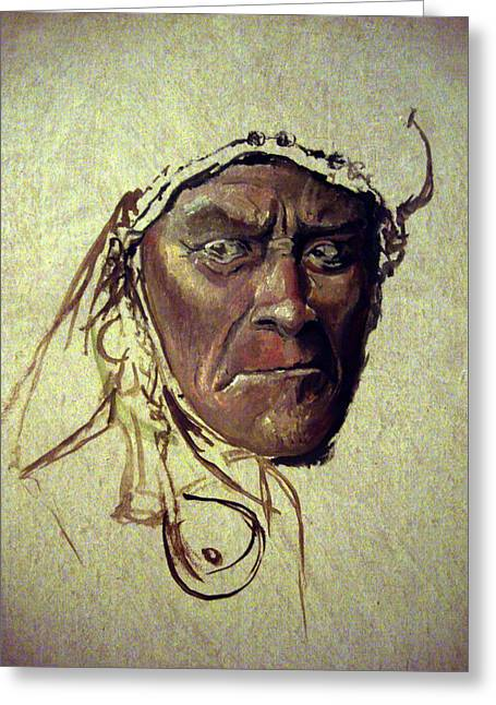Native American Spirit Portrait Paintings Greeting Cards - Wild And Glorious Greeting Card by Mikhail Savchenko