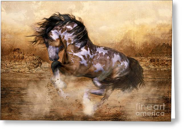 Running Digital Art Greeting Cards - Wild and The Free Greeting Card by Shanina Conway