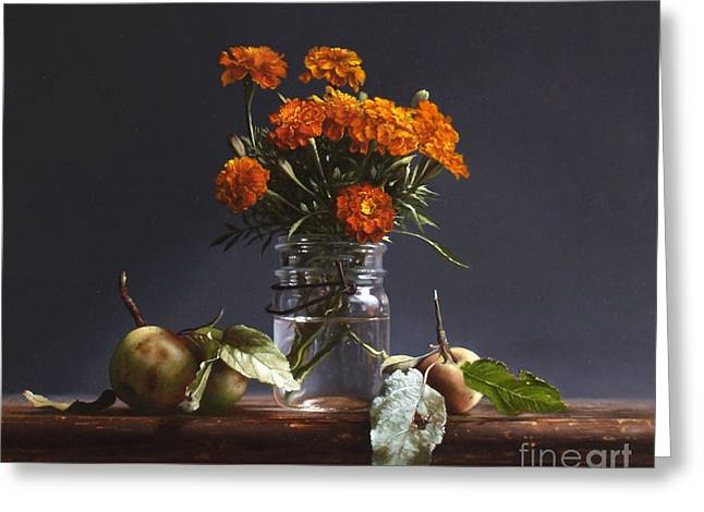 Apple Paintings Greeting Cards - WILD APPLES and MARIGOLDS Greeting Card by Larry Preston