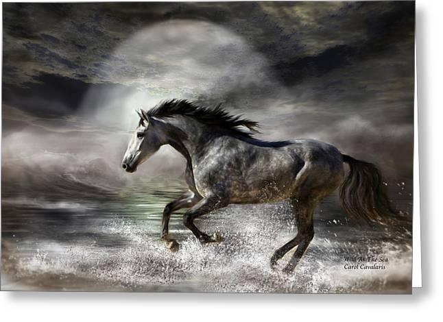 Wild Horse Greeting Cards - Wild As The Sea Greeting Card by Carol Cavalaris