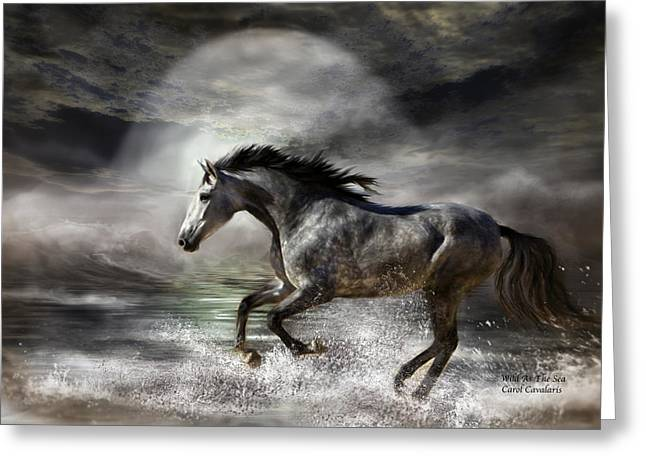 Wild Horses Mixed Media Greeting Cards - Wild As The Sea Greeting Card by Carol Cavalaris