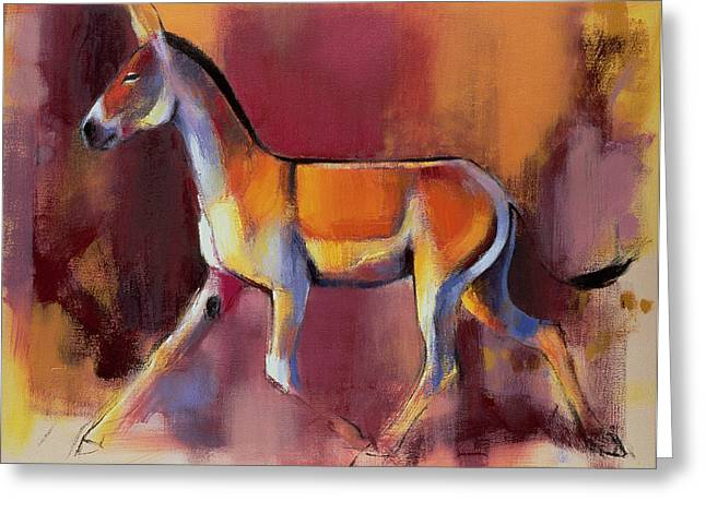 Equus Greeting Cards - Wild Ass, Rann Of Kutch, 1996 Oil On Canvas Greeting Card by Mark Adlington