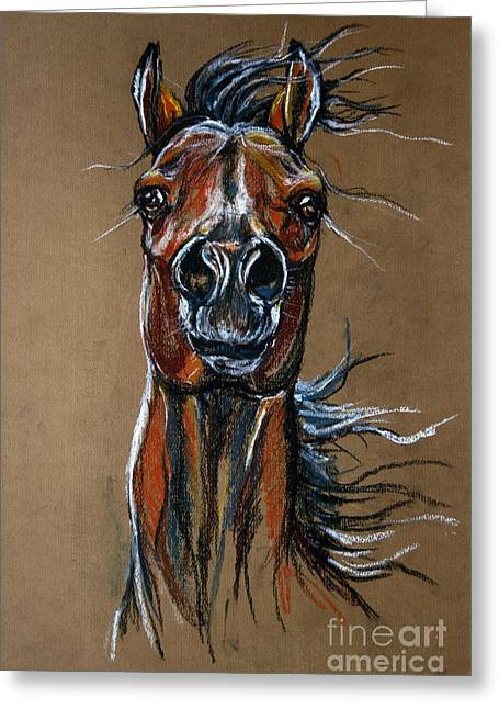 Horse Art Pastels Greeting Cards - Wild At Heart Greeting Card by Angel  Tarantella
