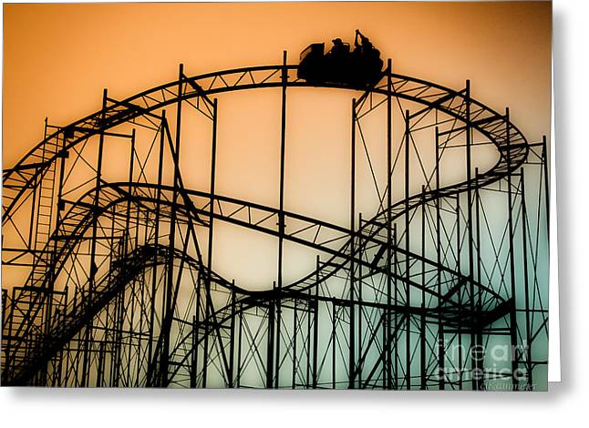Rollercoaster Photographs Greeting Cards - Wild at Night Greeting Card by Colleen Kammerer