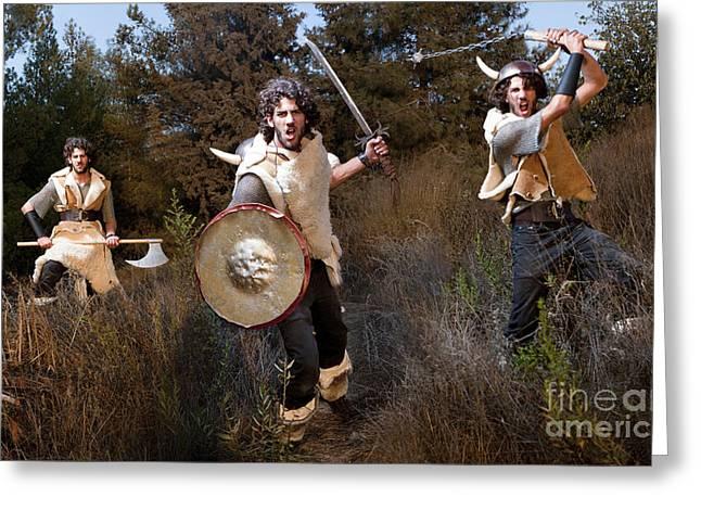 Determination Photographs Greeting Cards - wild Barbarian Attack 2 Greeting Card by Yedidya yos mizrachi