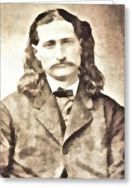 Fugitive Greeting Cards - Wild Bill Hickok Greeting Card by Dan Sproul