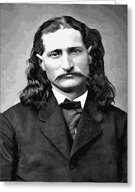 Wild Bill Hickok Grayscale Greeting Card by Daniel Hagerman
