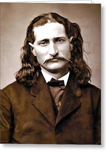 Mustaches Digital Greeting Cards - Wild Bill Hickok Painterly Greeting Card by Daniel Hagerman