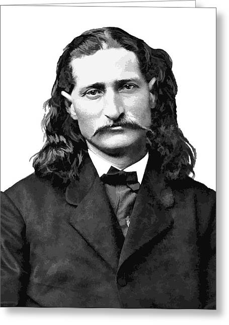 Wild Bill Hickok White Background Greeting Card by Daniel Hagerman