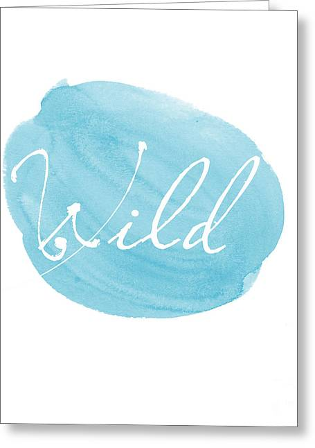 Word Greeting Cards - Wild blue Greeting Card by Marion De Lauzun
