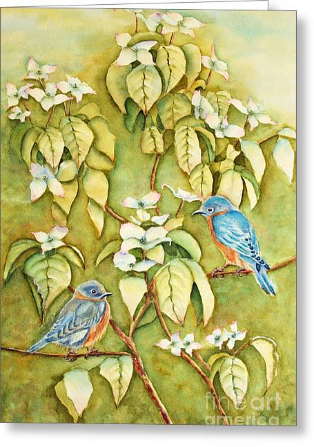 Bluebirds Greeting Cards - Wild Blues In White Dogwood 2 Greeting Card by Kathryn Duncan
